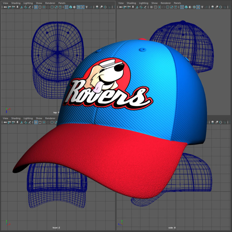 3D baseball cap modeled in Maya