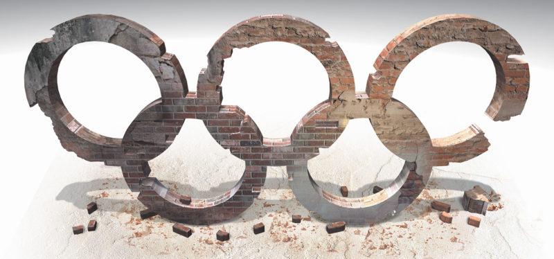 Olympics 3D rings in rubble